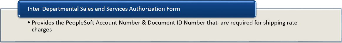 Inter-Departmental Sales and Services Authorization Form - Provides the PeopleSoft Account Number and Document ID Number that are required for shipping rate charges