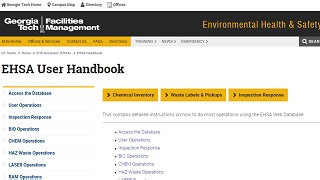 top level page of EHSA user handbook