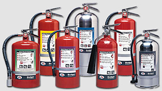 7 fire extinguishers of various types
