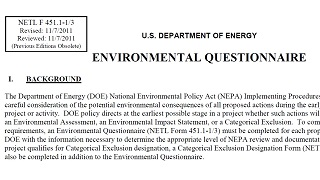 environmental questionnaire