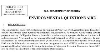 environmental questionnaire
